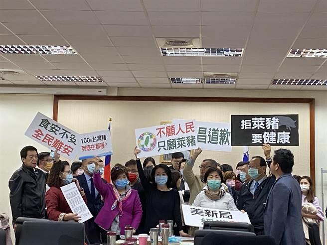 國民黨立委舉牌抗議本次審查「違法表決、會議無效。」(李柏澔攝)