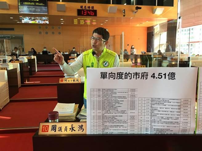 台中市議員周永鴻7日於議會指出,台中市政府施政沒有中心思想、沒有規劃願景、也沒有長遠的建設,只有煙火式的短暫活動。(陳世宗攝)