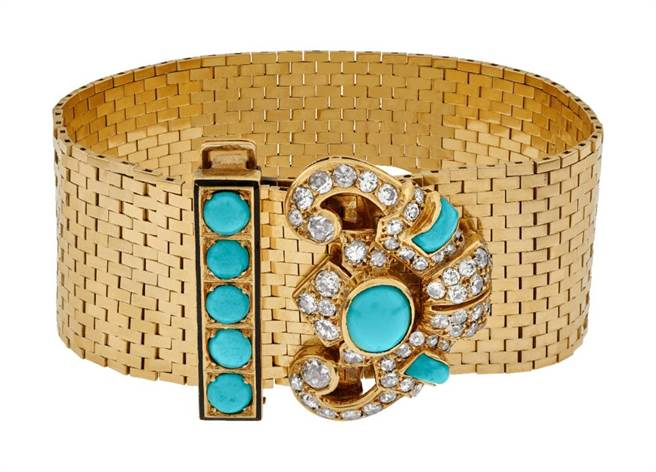 梵克雅寶Heritage典藏系列1935年的Ludo骨董手鐲,K金鑲綠松石、黑色尖晶石、鑽石,另含同系列胸針,506萬。(VanCleef & Arpels提供)