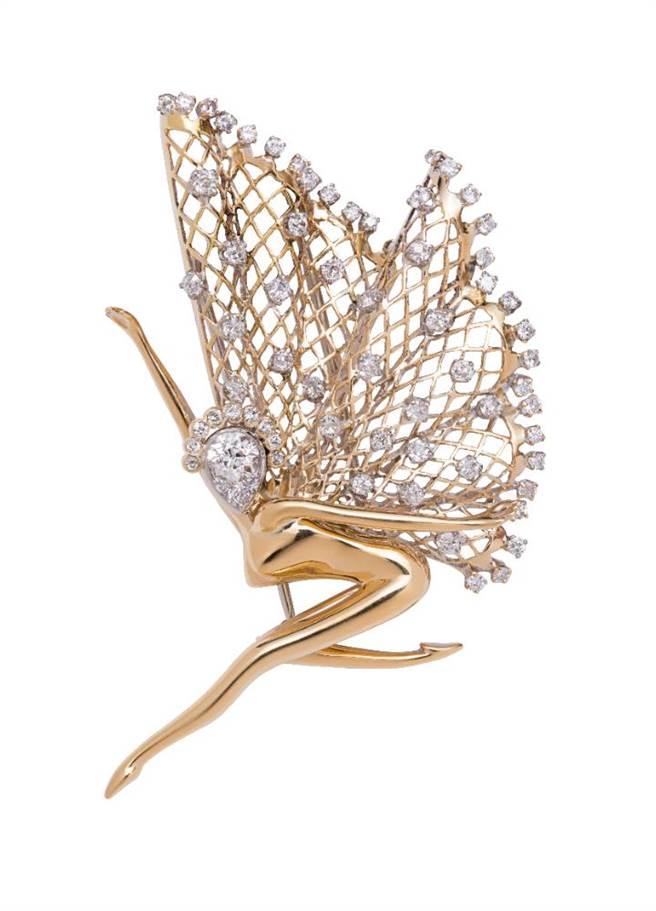 梵克雅寶Heritage典藏系列1945年的Fairy胸針,K金與鈀金鑲鑽石,730萬元。(Van Cleef & Arpels提供)