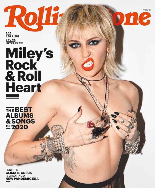 麥莉全裸登上音樂雜誌《滾石》2021年1月刊封面。(摘自IG)