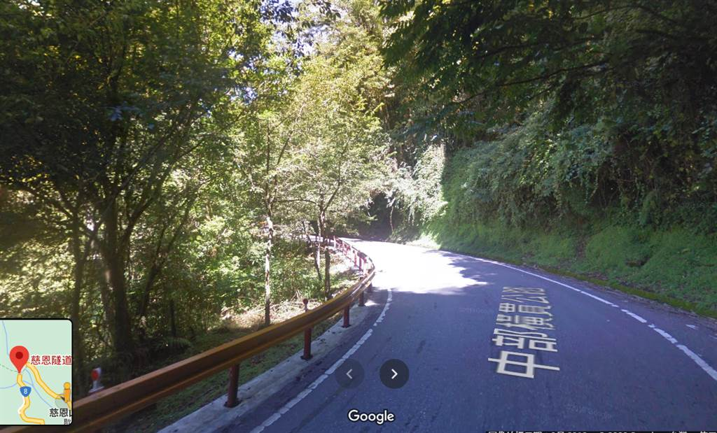 中橫台8線今早傳出轎車墜落40公尺懸崖意外(google map截圖)