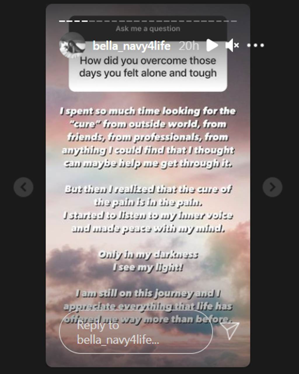 Bella在限時動態接受網友提問每。(圖/bella_navy4life IG)