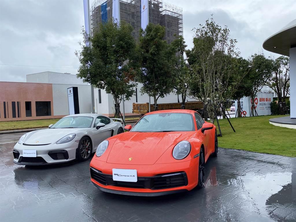 「央北鑫建築」銷售現場展示多款保時捷汽車,且每周都會更換。(業者提供)