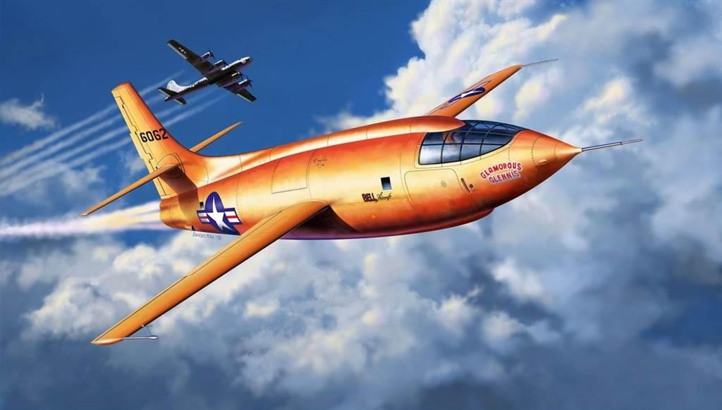 畫家筆下的X-1火箭機脫離B-29轟炸機的情景。(圖/Revell )