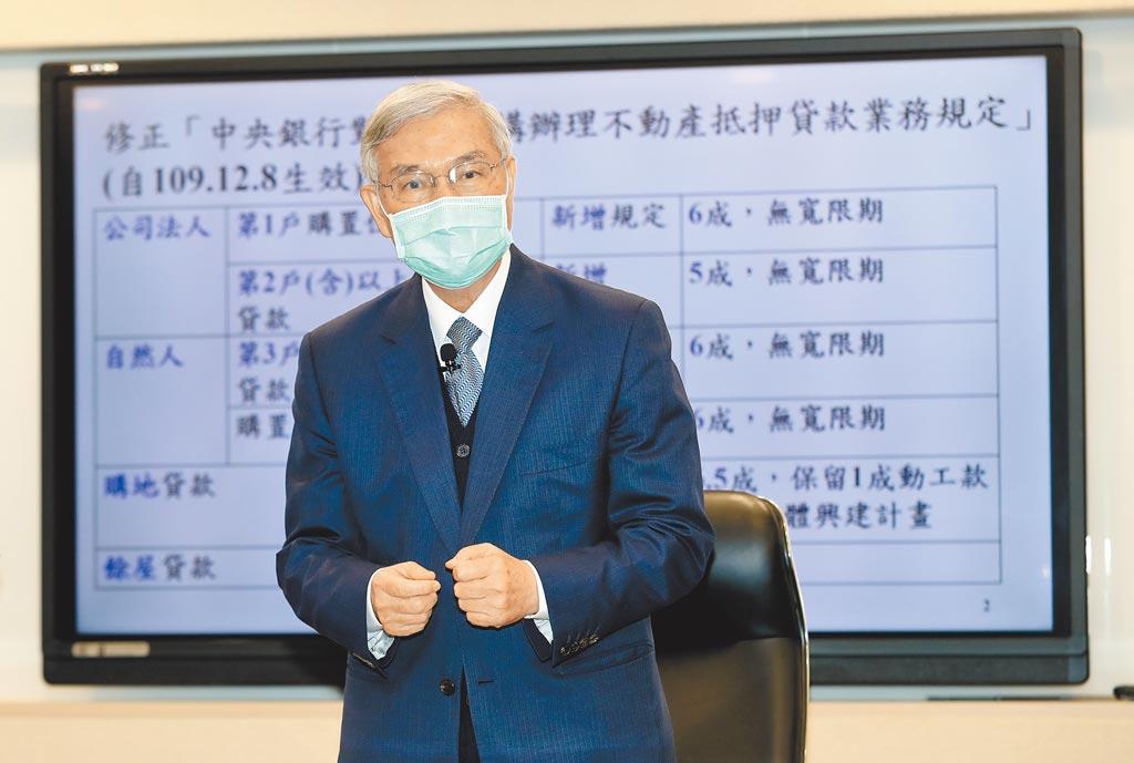 央行總裁楊金龍7日舉行記者會,說明央行打房4大新措施。(劉宗龍攝)