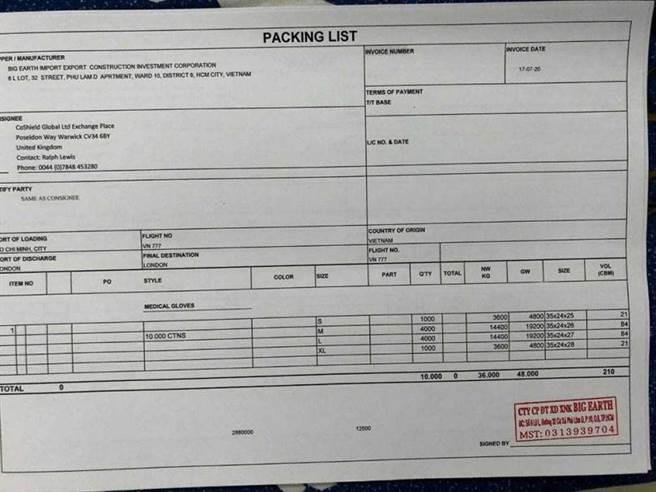 Jones出示連錦信提供的產品照片、出貨單及船班資料,事後才發現皆是假的資料。(圖/Jones提供)