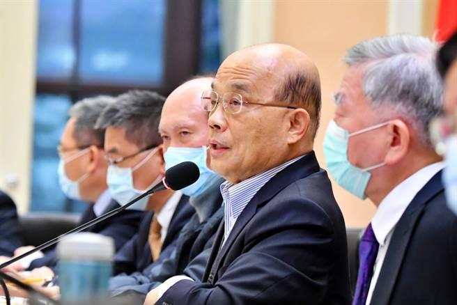 行政院長蘇貞昌7日主持「中央災害防救會報」第43次會議。(行政院提供)