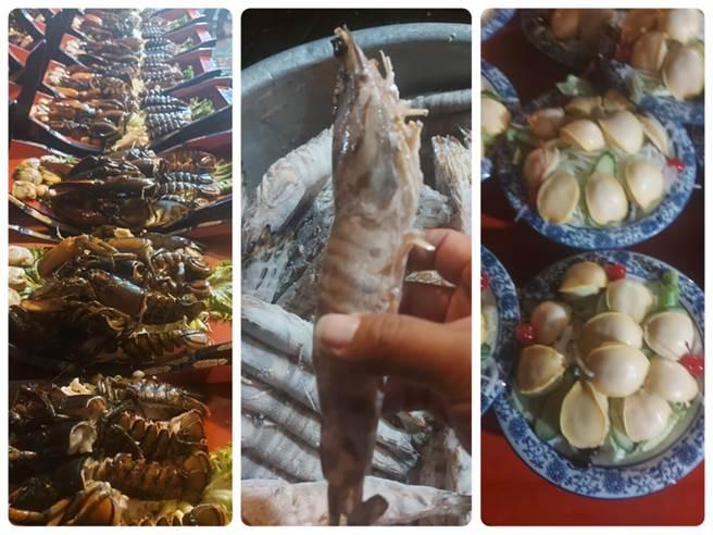 一名網友分享南部超狂辦桌菜色,只見整尾龍蝦端上桌、蝦子比手大、鮑魚堆成山,引發網友熱議。(圖/翻攝自爆廢公社二館)