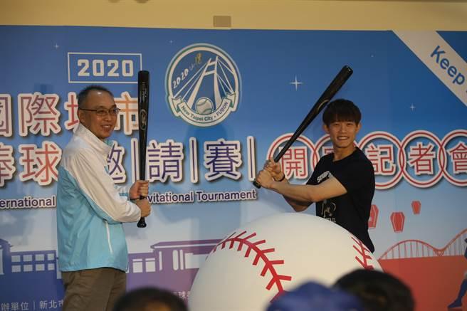 陳冠宇參加新北富邦國際城市U18棒球邀請賽開賽記者會。(李弘斌攝)