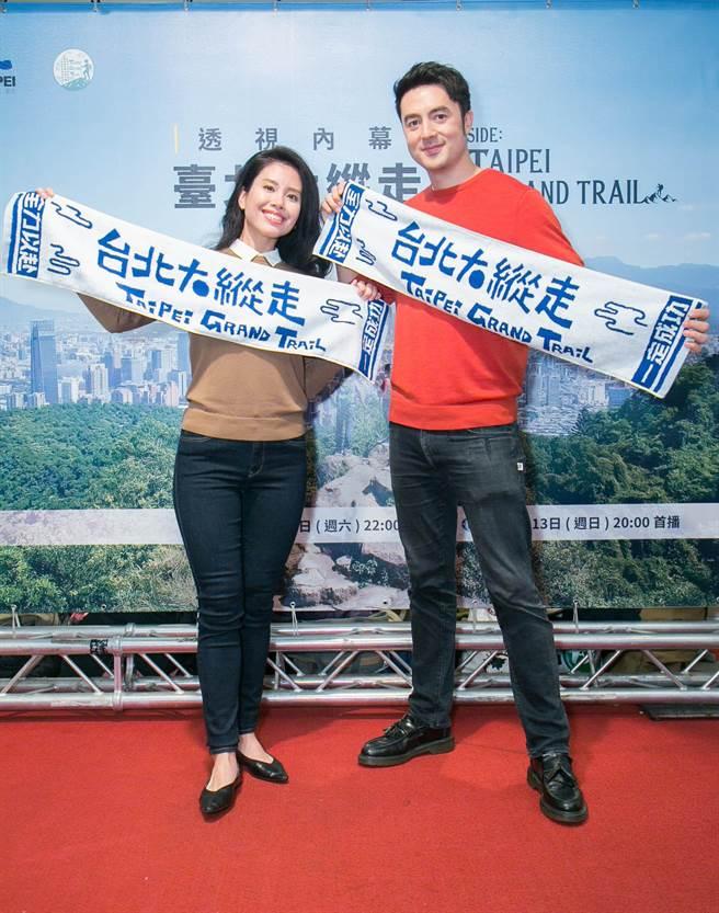 班杰和老婆Cindy今天(8日)甜蜜出席国家地理频道新节目《透视内幕:臺北大纵走》首映会。(国家地理提供)