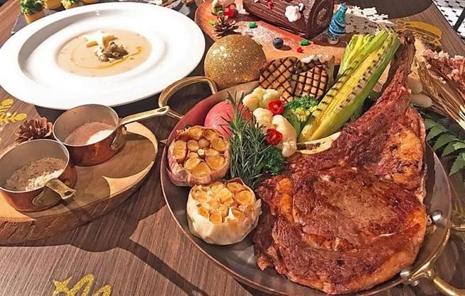 (天成文旅-華山町餐酒館推出的「聖誕跨年四人分享餐」,主菜有「戰斧豬排 爐烤聖路易排」。圖/天成之旅提供)