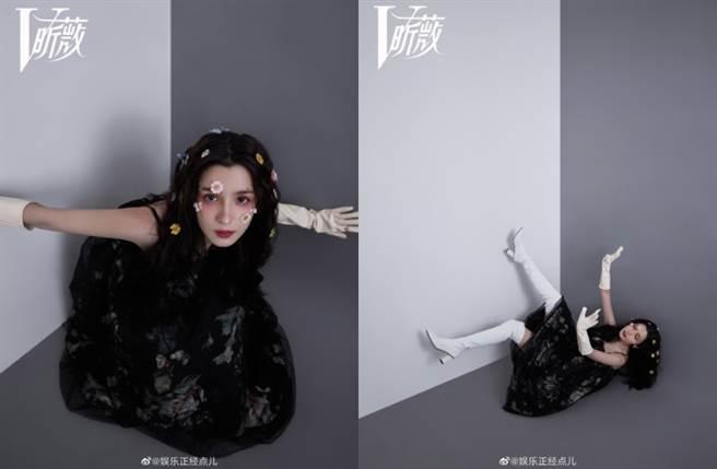 哈妮克孜先是換上黑色薄紗裙以美少女造型展現青春氣質。(圖/摘自微博@娱乐正经点儿)