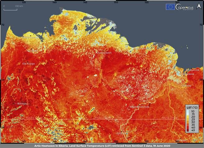 氣候分色衛星顯示,罕無人至的西伯利亞,在今年6月創下罕見的38度高溫。(圖/美聯社)