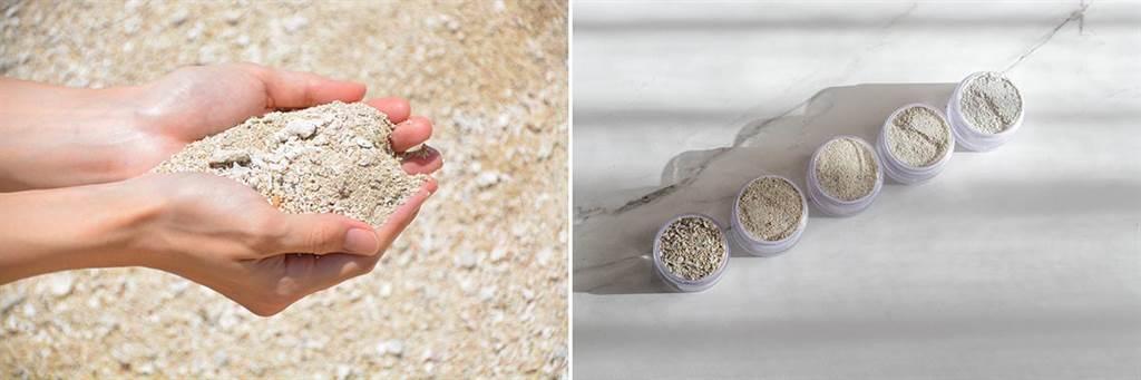 日本琉海美粉晶珊瑚。(左圖)為加工前,(右圖)由右至左為珊瑚原料粉碎過篩後的加工過程。(圖片提供/伸達股份有限公司)