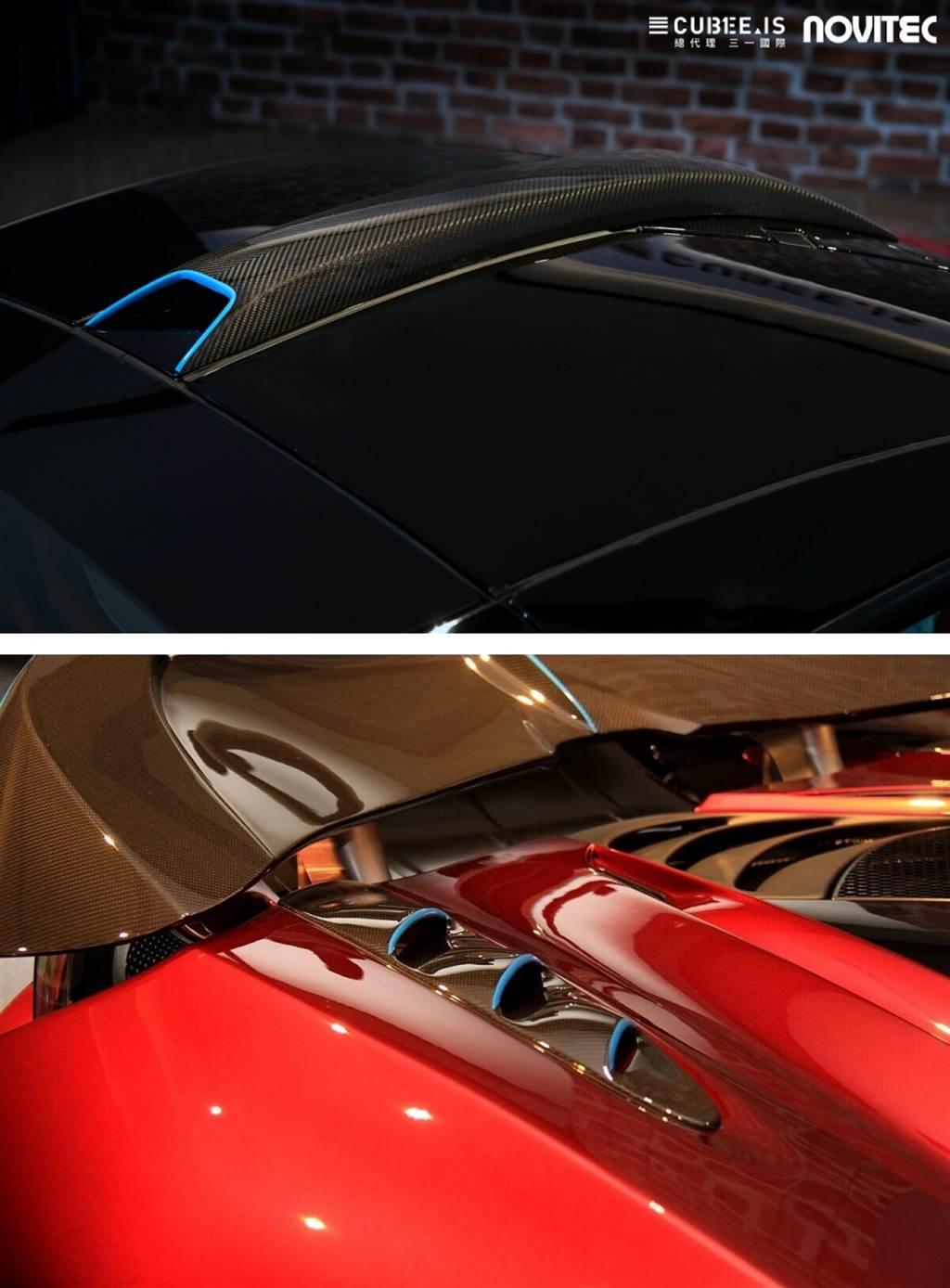 車尾兩側的百葉通風孔,開口朝向車頭,並且造型與前葉子板上的不同,具有更好的集氣效果,其功用是為了導引氣流將其更流暢地向後導出。