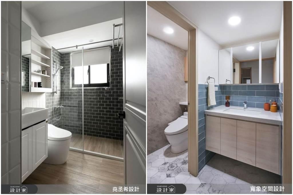 在牆面設置開放式的層架櫃、或是洗手台下方搭配系統櫃體,可放置常用的物品及衛浴清洗的清潔劑等。