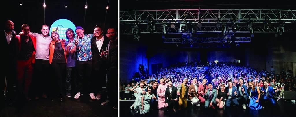 左:「二三喜劇」每週提供英語段子的演出,讓身在台北的外國人也能在此找到歡樂泉源。(圖/二三喜劇)右:「卡米地喜劇俱樂部」作為台北單口喜劇空間的先驅,集結眾多喜劇人才,將此種表演藝術的魅力全面擴散。(圖/卡米地喜劇俱樂部提供)