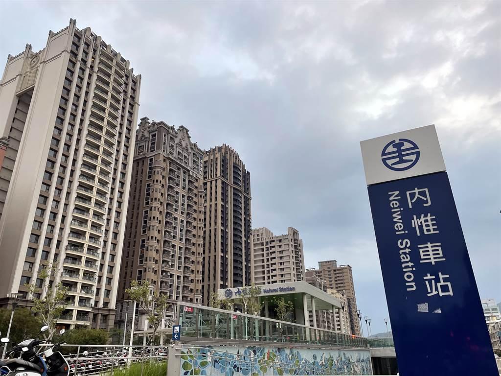高雄鐵路「內惟站」每坪單價從18.4萬上揚至23.8萬,漲幅達29%。(台灣房屋提供)