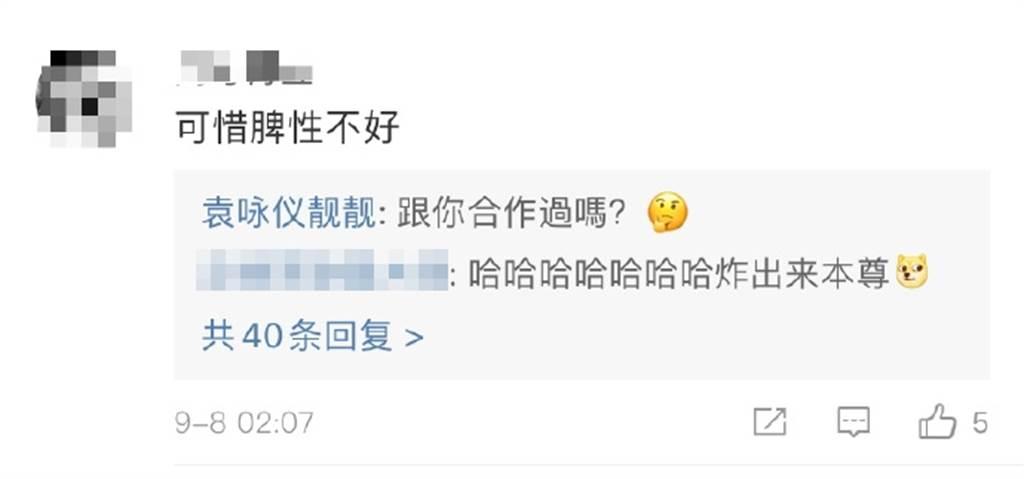 袁咏仪亲自回覆酸民。(图/翻摄自微博)