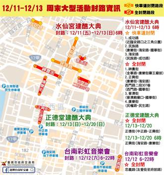12月第2個周末台南市區活動多 交通局發布封路資訊