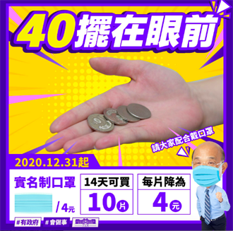 40擺在眼前  蘇揆:實名制口罩降價增量了