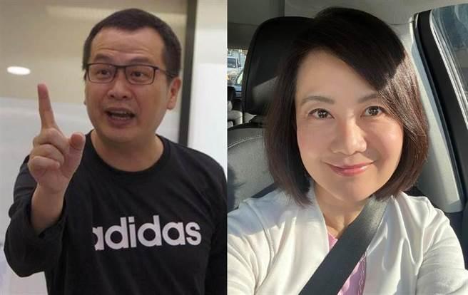 台北市議員羅智強(左)發起「懸崖勒豬,留言+1」行動,今點名民進黨立委吳思瑤。(合成圖/摘自羅智強、吳思瑤臉書)