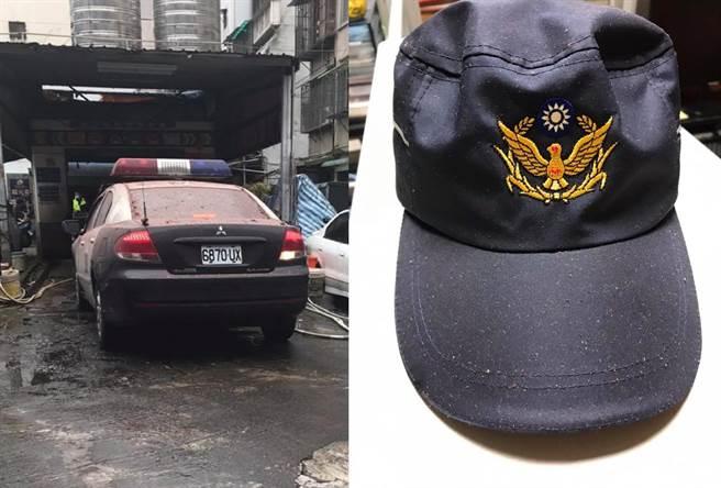 青山宮遶境,員警連3天服勤達22小時,警車、帽子滿是砲灰。(圖/摘自侯漢廷臉書)