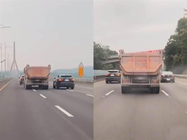 砂石車遭4輛黑車夾擊圍堵。(圖/翻攝自臉書爆料公社二社)