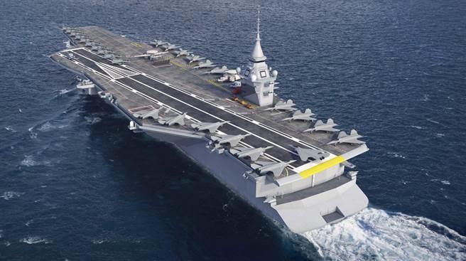 由海軍集團(Naval Group)設計的法國下一代核航母示意圖。(路透)