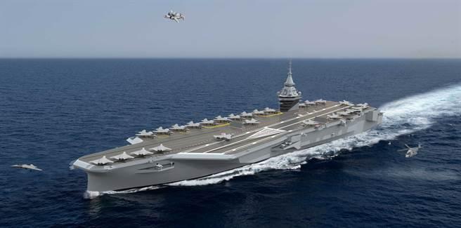 法國下一代超級核航母預計在2038年即時取代現有的航母「戴高樂」號。(路透)