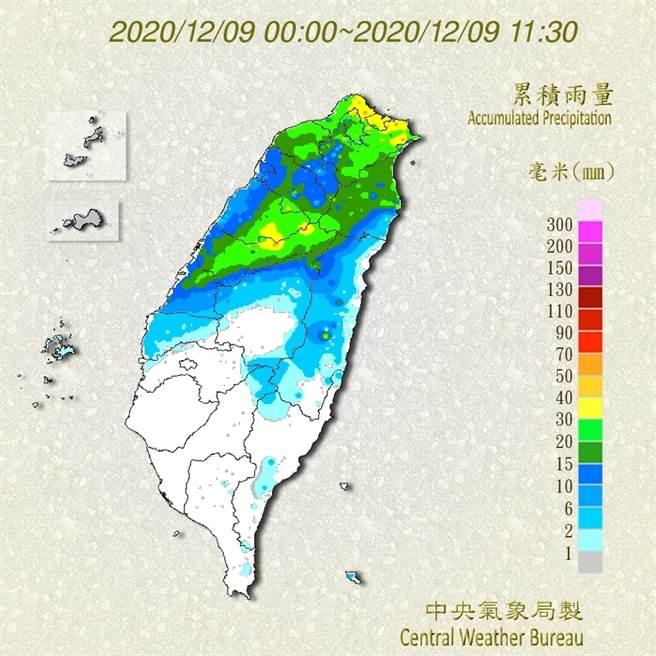 圖為今天0點到11點30分的全台累積雨量,雨已經下到雲林了。(翻攝自 氣象局)