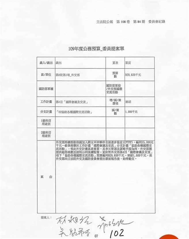 郑照新PO绿委提案冻结CPTPP预算的提案单。(摘自郑照新脸书)