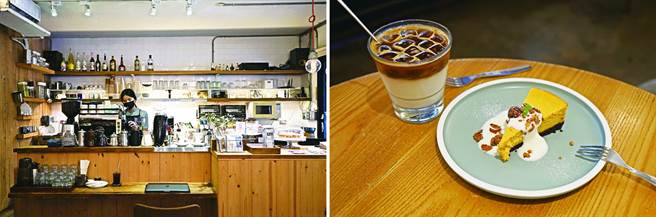 左:「乐乐咖啡」坚持品质优良的用料,用心冲煮每一杯咖啡。右:「乐乐咖啡」姜汁拿铁搭配甜点南瓜起司蛋糕,让人会心一笑。(图/侯乃瑄摄)