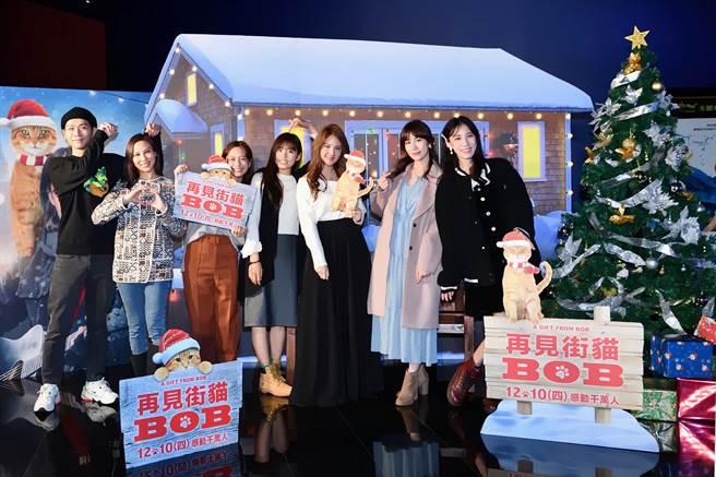 藝人蔡旻佑(左起)、林凡、葉星辰、吳汶芳、郭靜、瑤瑤、Apple出席本片星光首映會。(采昌提供)