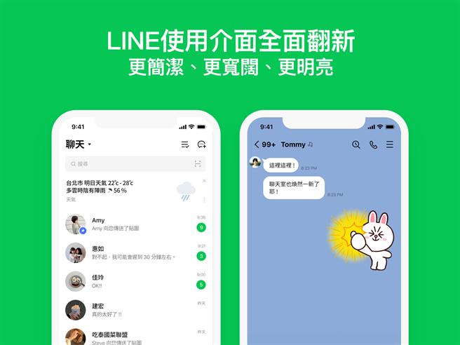 LINE首度全面更新使用介面。(LINE提供/黃慧雯台北傳真)