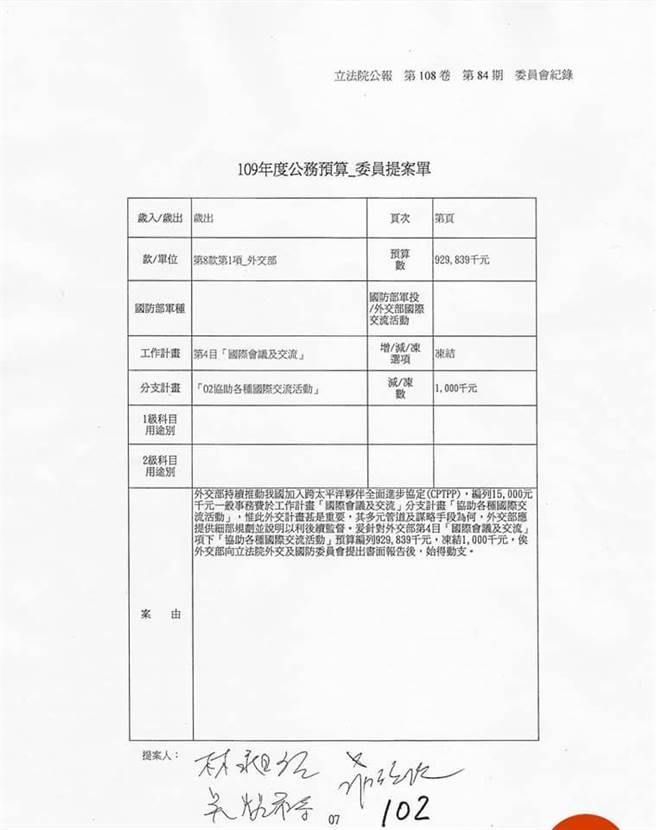民進黨立委羅致政等人提案單。(摘自鄭照新臉書)