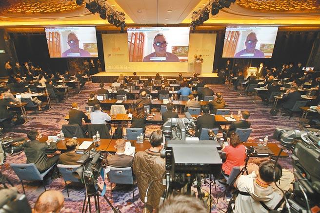 遠景基金會8日在台北舉行「2020台美日三邊印太安全對話」國際研討會,美國國務院前亞太助卿坎貝爾透過視訊發表演說。(杜宜諳攝)
