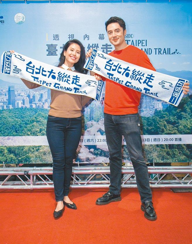 班傑(右)和老婆Cindy昨出席國家地理頻道新節目《透視內幕:臺北大縱走》首映會。(國家地理提供)