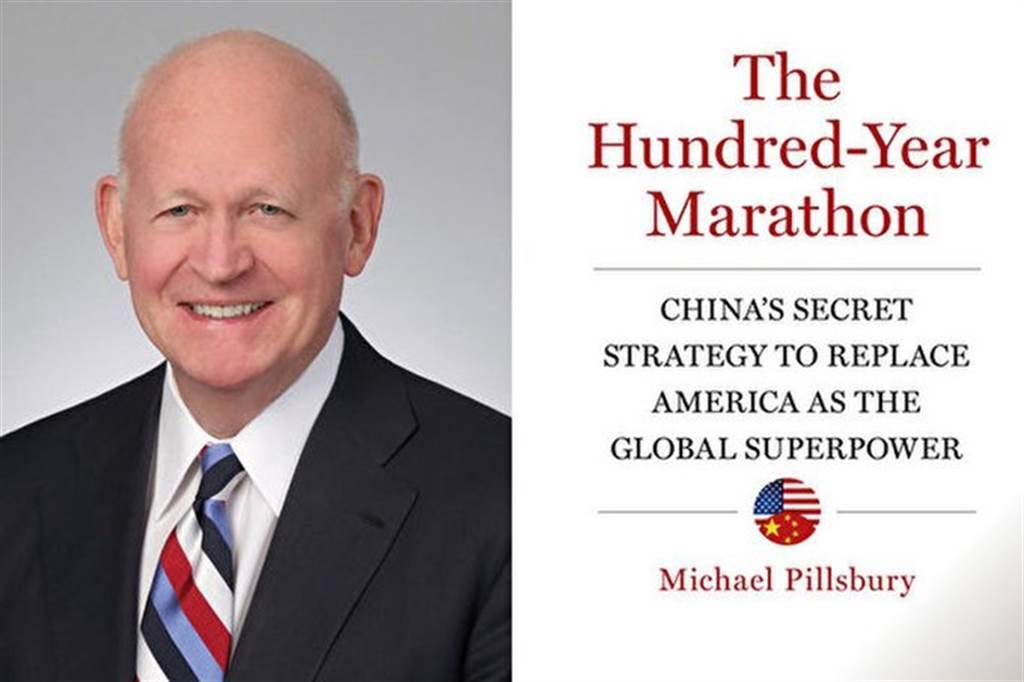 白邦瑞與其知名的中國問題專著《百年馬拉松——中國取代美國成為全球超級強國的秘密戰略》。(圖/推特)