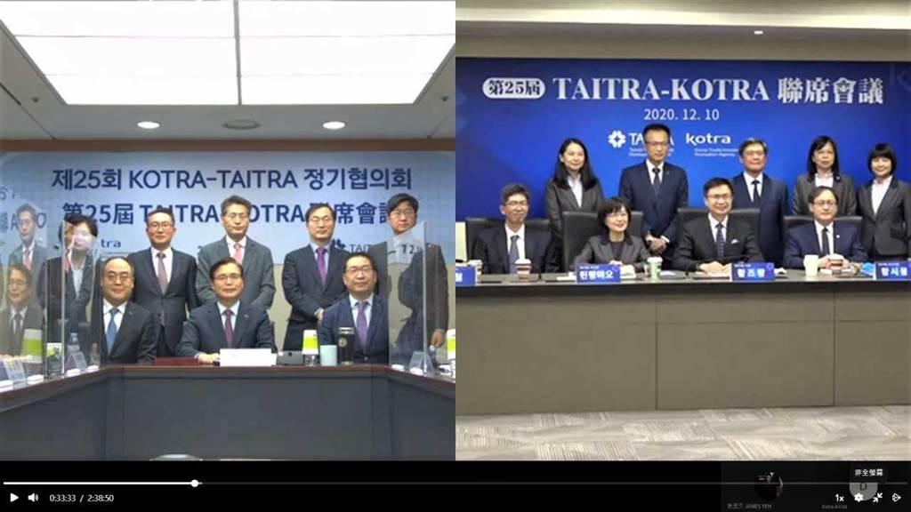 第25屆「外貿協會」與「大韓貿易投資振興公社」聯席會議今以視訊方式舉辦,雙方與會代表於螢幕前合影。(圖:貿協提供)