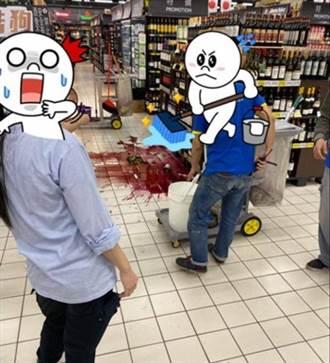 地震全台好晃!家樂福紅酒爆裂 滿地紅顧客嚇壞