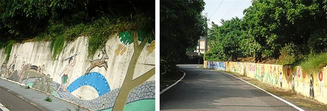 三平里的彩繪文化巷,從台3線起點到高122線終點,共有10座彩繪牆,綿延3公里。(攝影/曾信耀)
