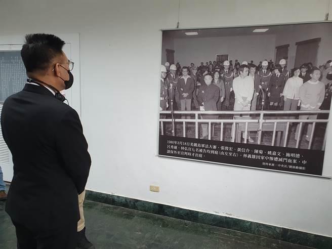 國民黨主席江啟臣今(10日)上午10時許參訪國家人權博物館。(葉書宏攝)
