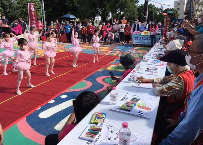 英格蘭幼兒園小朋友曼妙舞姿中,為10日華山基金會揭開首屆「童心畫愛」敬老公益&再生能源轉動愛著色比賽序幕。(華山基金會提供/陳世宗台中傳真)