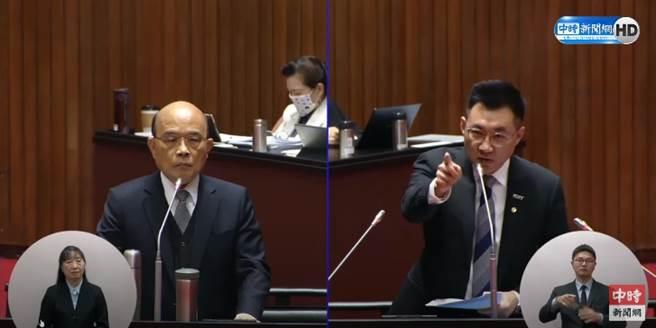 行政院長蘇貞昌(左)、國民黨立委江啟臣(右)。(圖/本報系影音截圖)