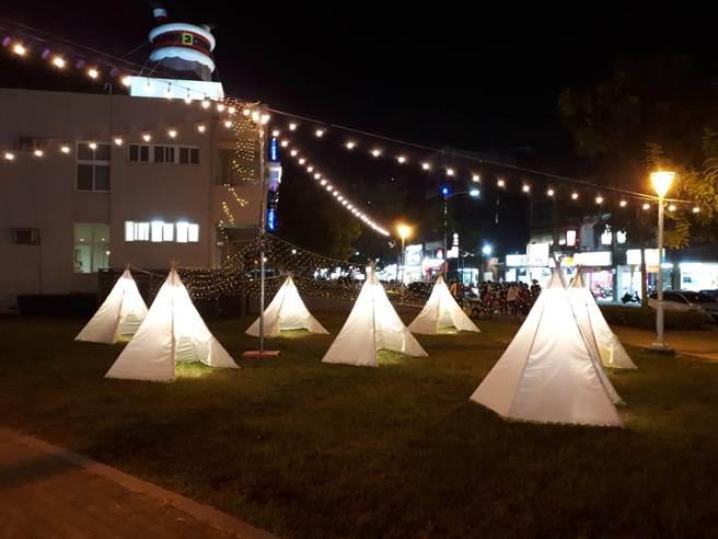 岡山公園將於12月10日起,至明年度1月10日,推出3大主題區燈展。(林瑞益攝)