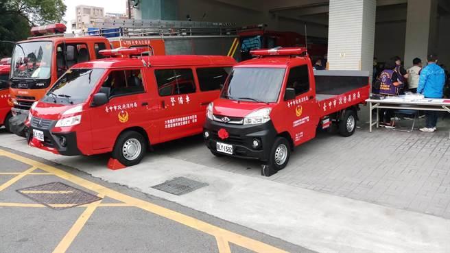 大雅國際同濟會捐贈警備車及消防水帶,充裕大雅、神岡分隊救災救護能量。(台中市消防局提供/王文吉台中傳真)