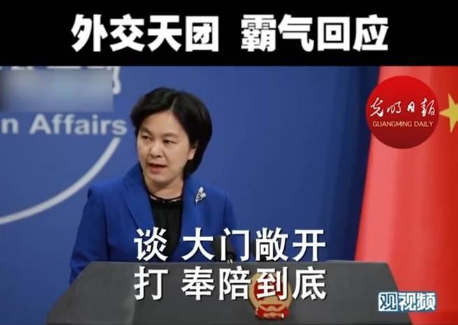 大陸外交部發言人華春瑩。(觀視頻截圖)