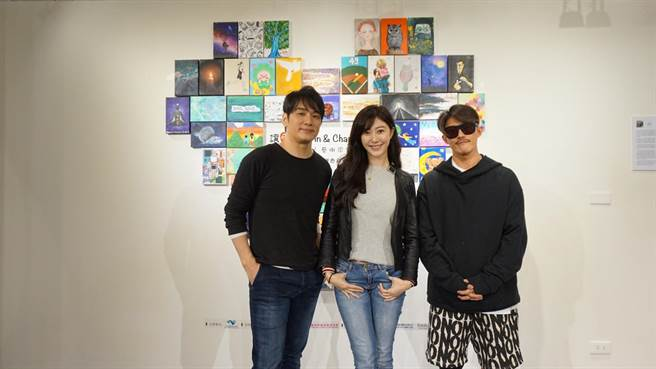 张洛君(左起)、许蓁蓁及艺术家黄杰共同策展公益画展。(元大侠创作提供)